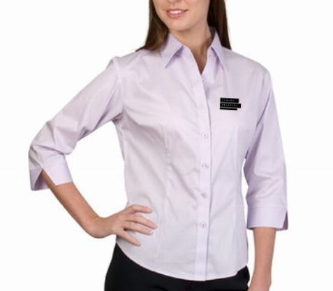 Corporate Merchandise: Embroidered Logo on poly cotton formal shirts for women